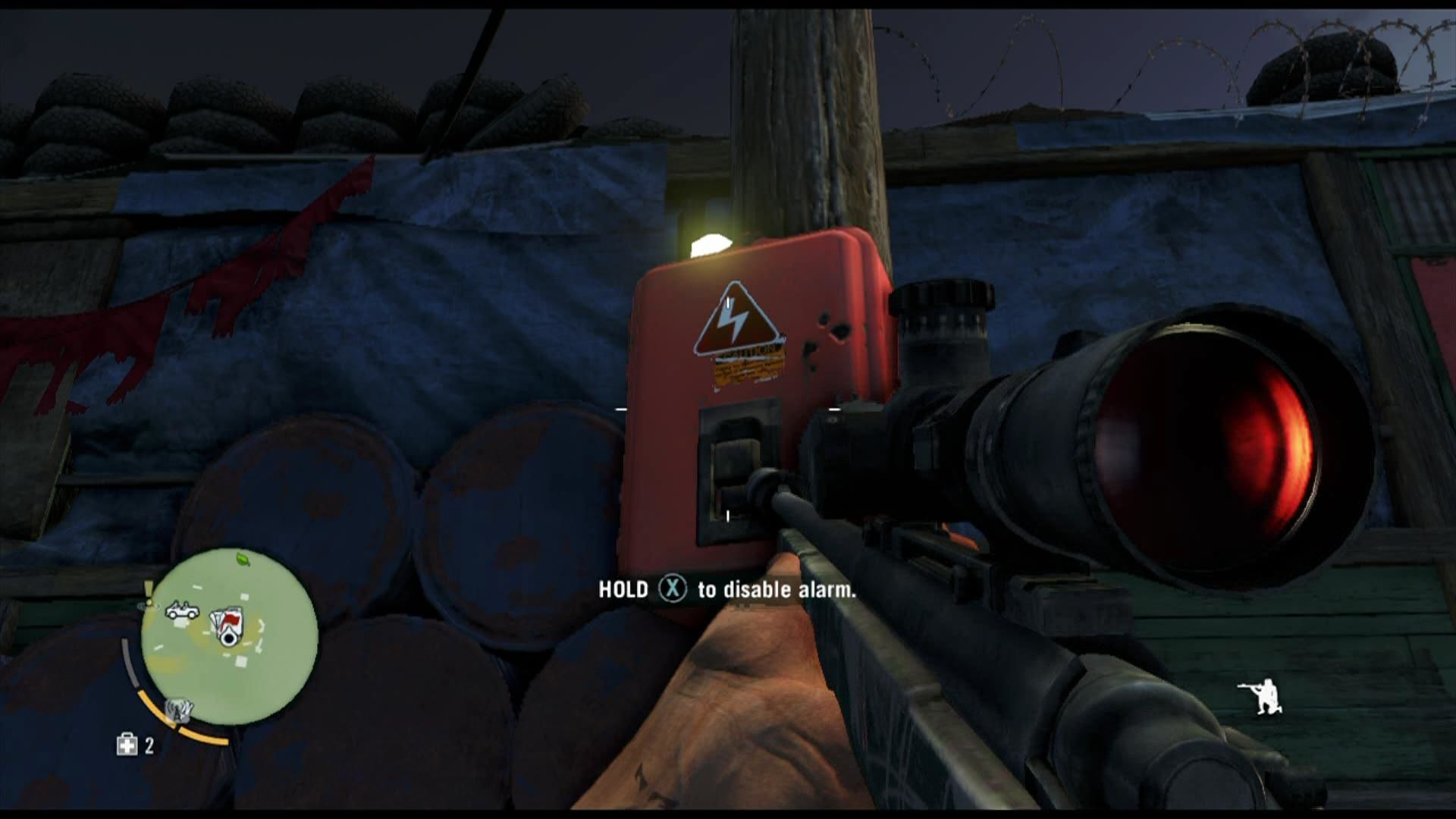 Far Cry 3 Xbox 360 Checkpoints usually have an alarm system, which can be disabled here