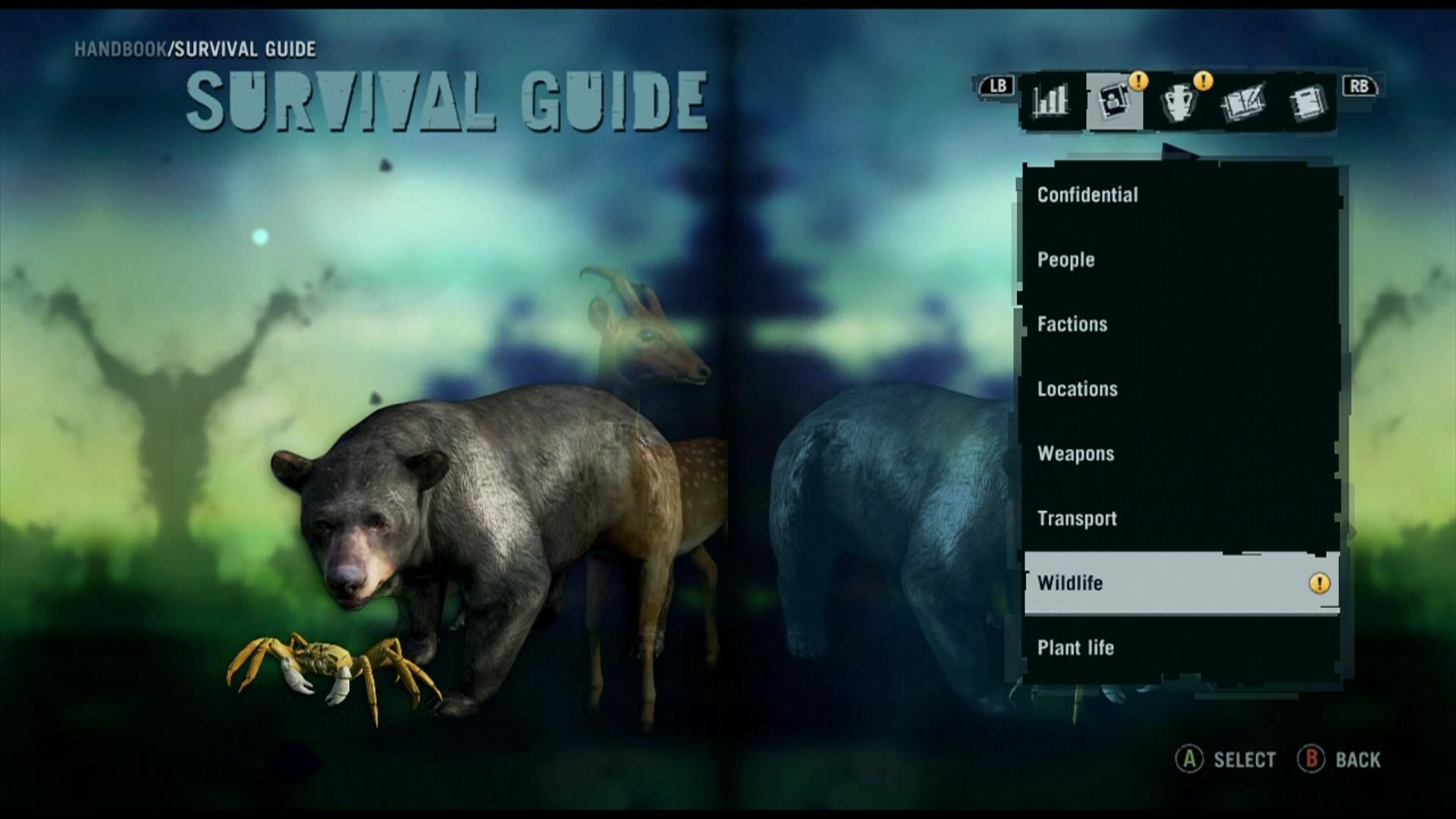 Far Cry 3 Xbox 360 Information about local animals