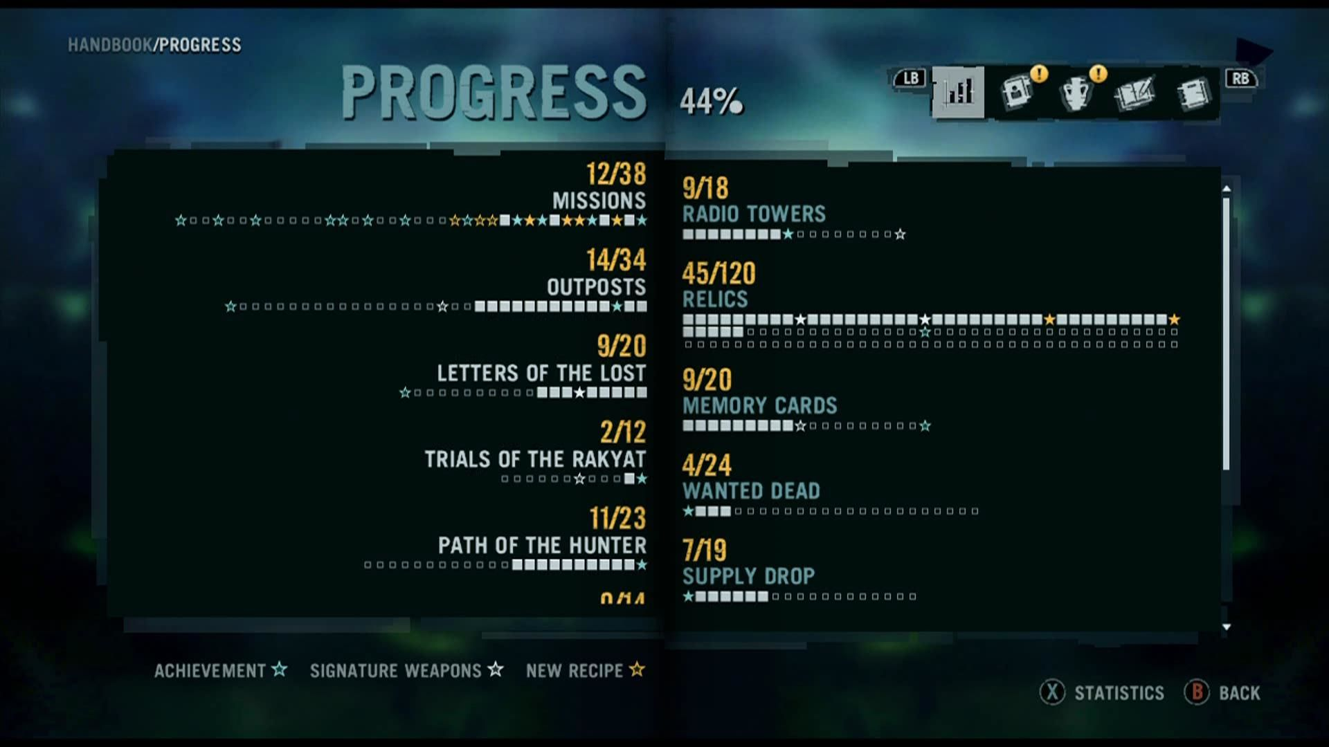 Far Cry 3 Xbox 360 Stats page of what you have already done in the game and what is still to be conquered