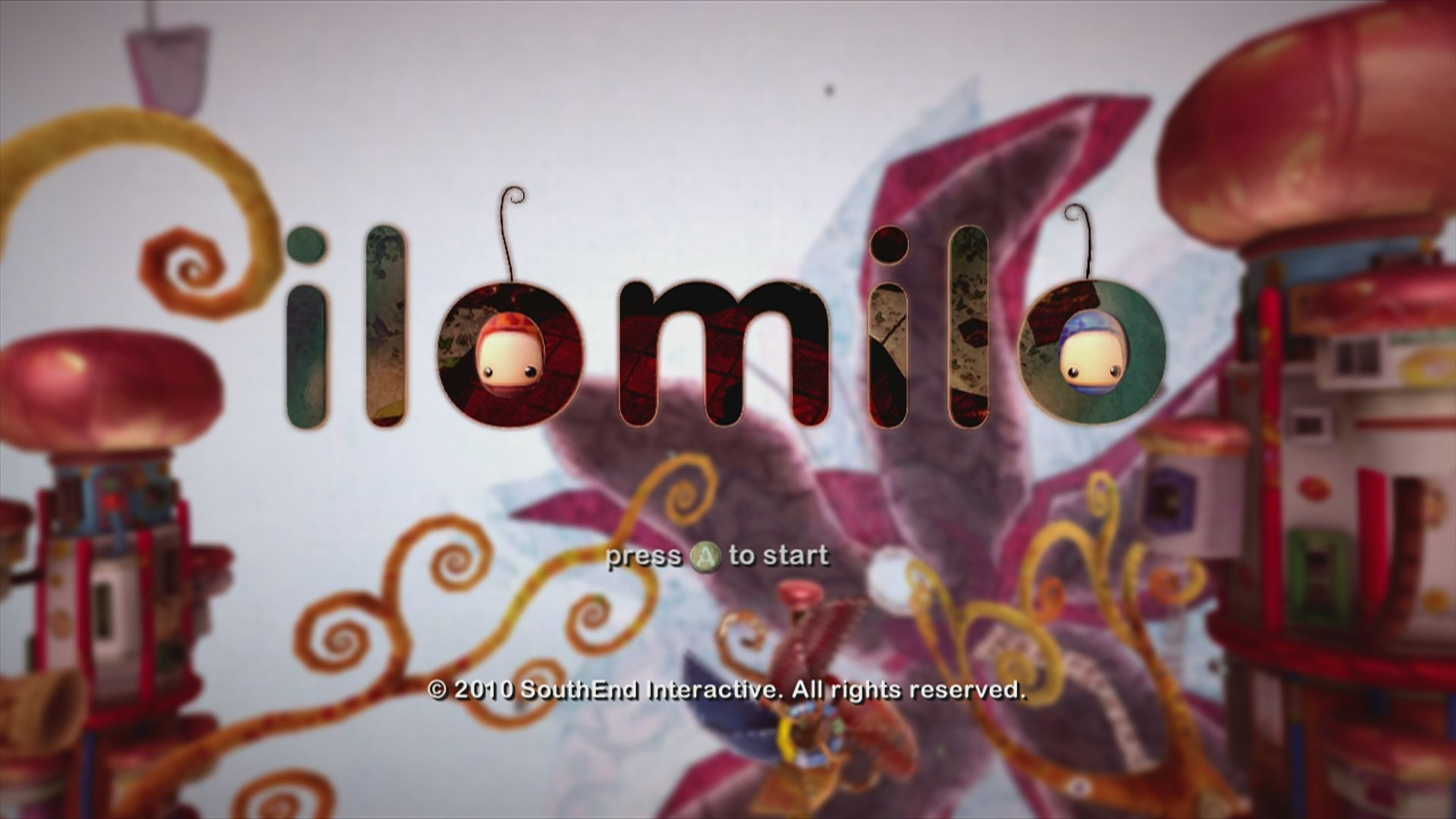 ilomilo Xbox 360 Start screen