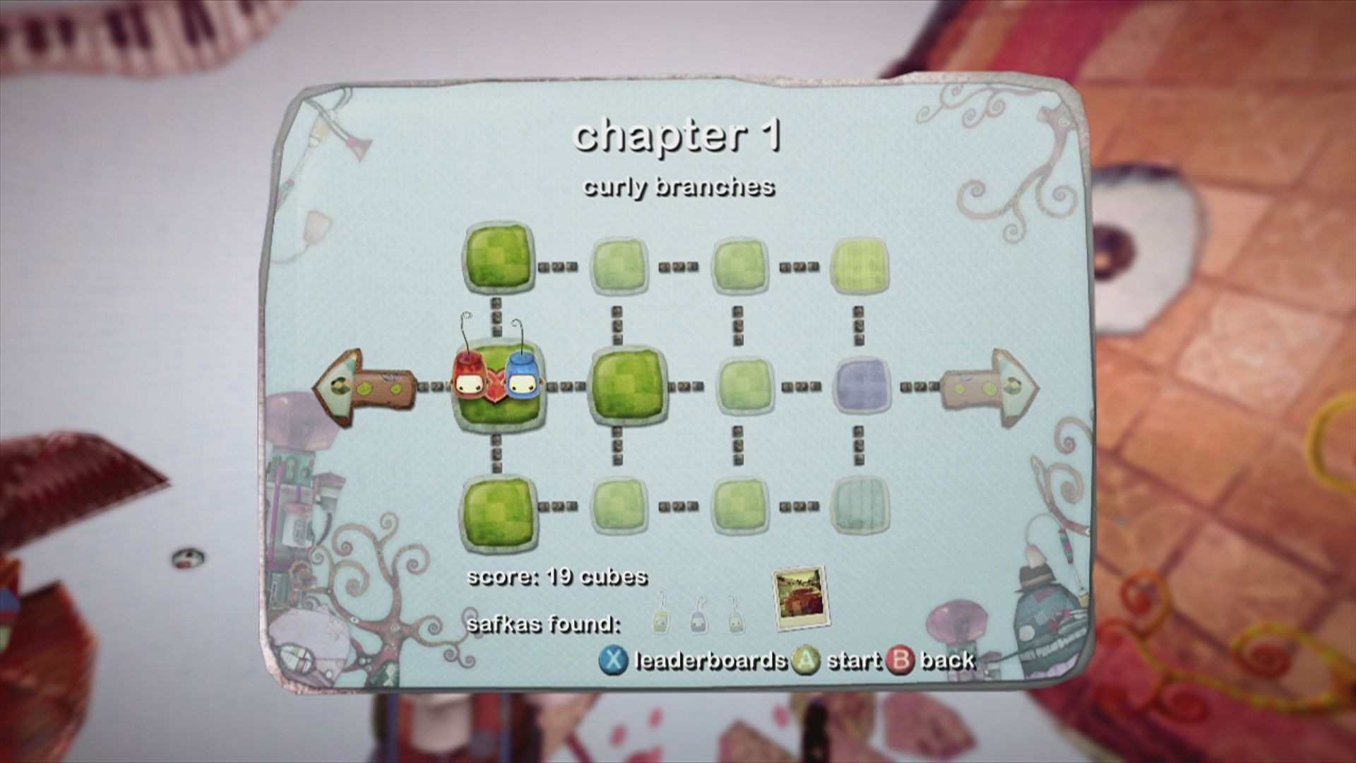 ilomilo Xbox 360 Level select in chapter one. You need to solve adjacent puzzles in order to proceed