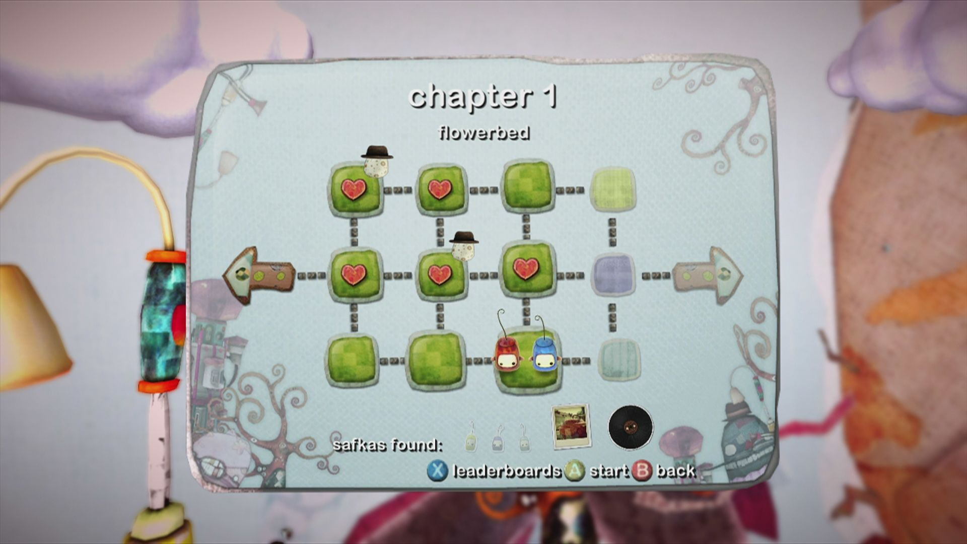 ilomilo Xbox 360 collectibles for each level are shown in the overview screen