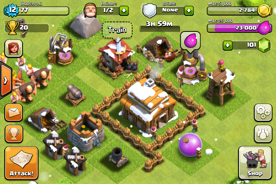 Clash of Clans iPhone Constructing a village