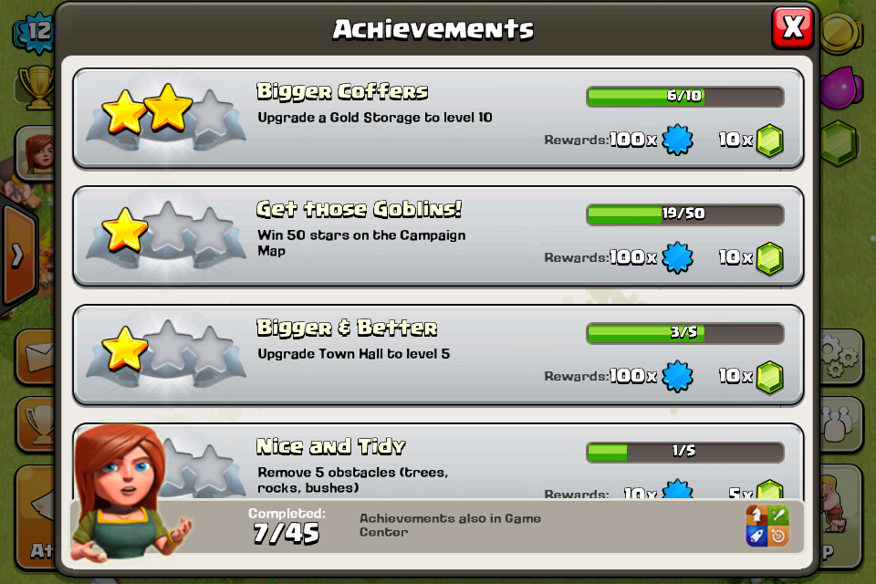 Clash of Clans iPhone Some things to achieve