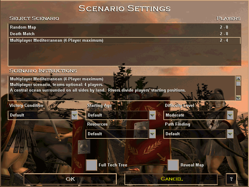 Age of Empires: The Rise of Rome (Demo Version) Windows Multiplayer game settings. Only four civilizations are available, and computer opponents are disabled in the trial version.