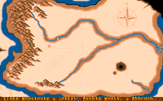 Darghul DOS On this map we chose our next destination. At this time, we have only one option. (Unregistered shareware version)