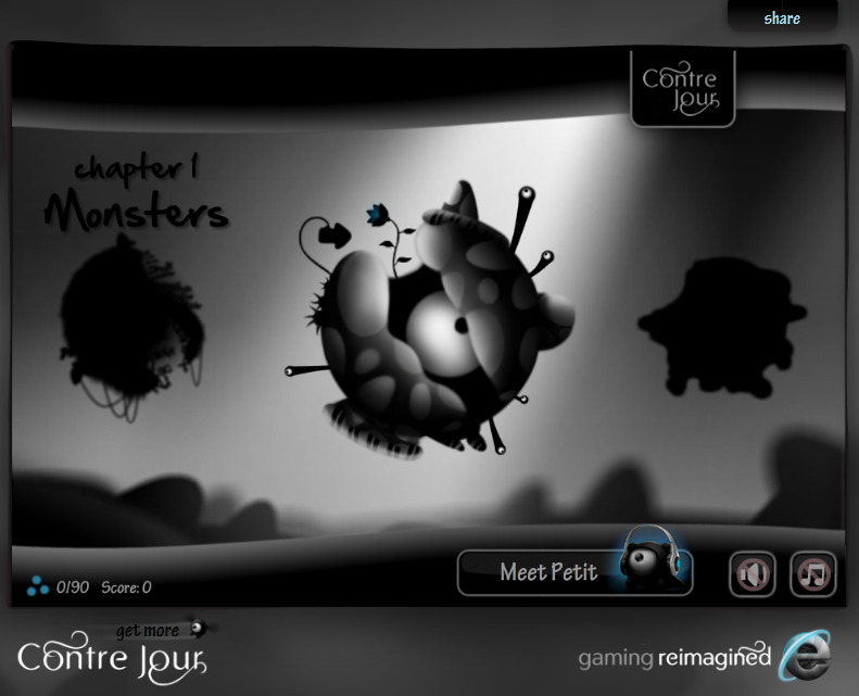 Contre Jour Browser The chapter selection screen with some logos and links surrounding the gameplay area.