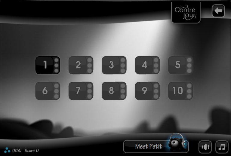 Contre Jour Browser Level selection screen of the first chapter