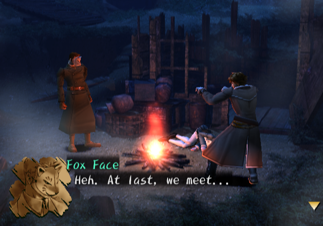 Shadow Hearts PlayStation 2 The mysterious 'Fox Face' appears.