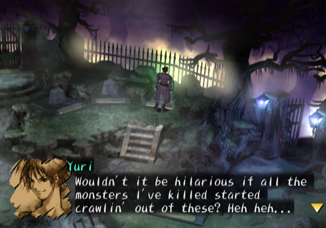 Shadow Hearts PlayStation 2 Inspecting graves.