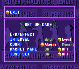 Super Final Match Tennis SNES Set up the game to your liking