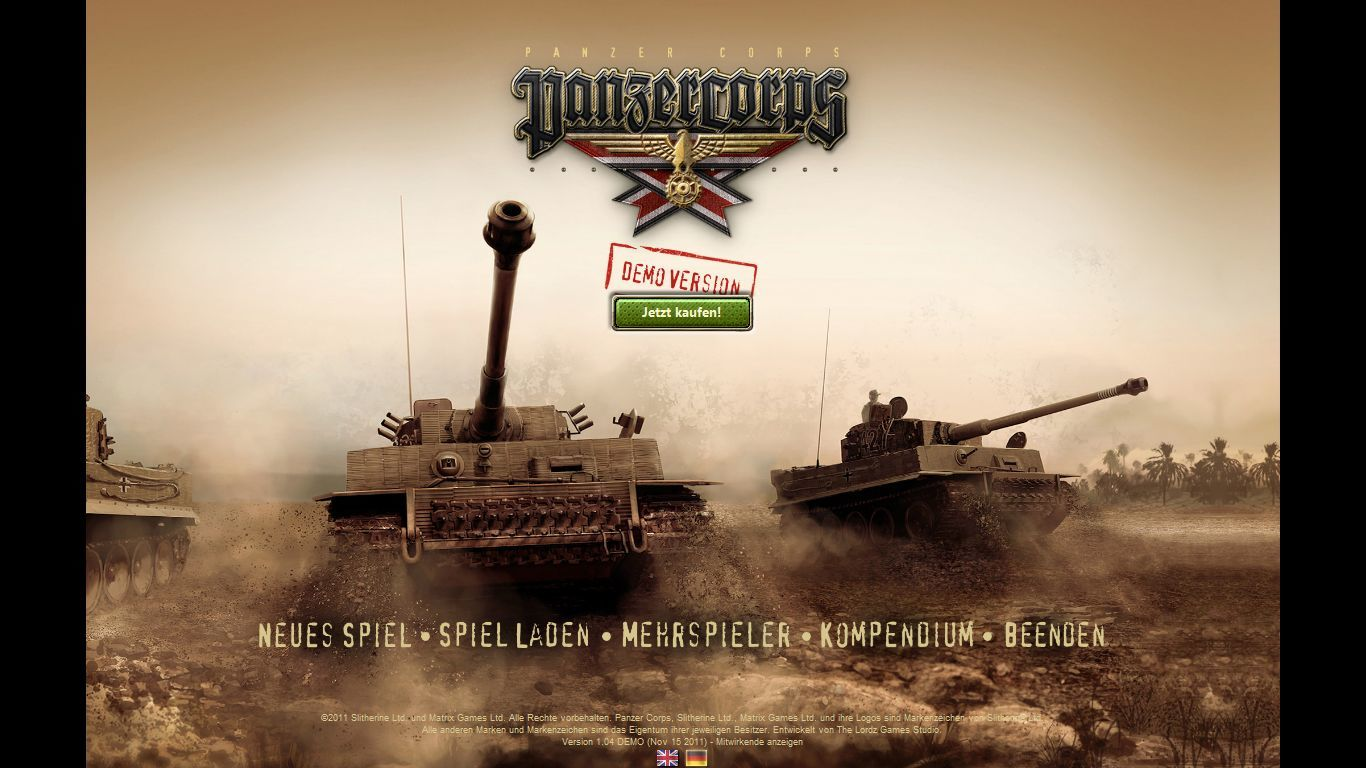 Panzer Corps: Wehrmacht Windows Main menu of the demo version