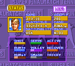 Super Final Match Tennis SNES A tennis players status screen