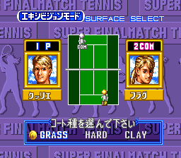 Super Final Match Tennis SNES Select a surface to play on