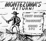 Montezuma's Return! Game Boy Title screen