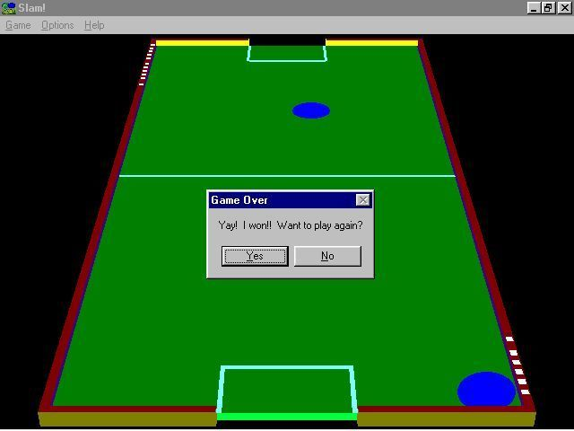 Slam! Windows 3.x Game Over!. The game displays the score as a series of small white dots along the edge of the table. A game is over when one player scores eleven