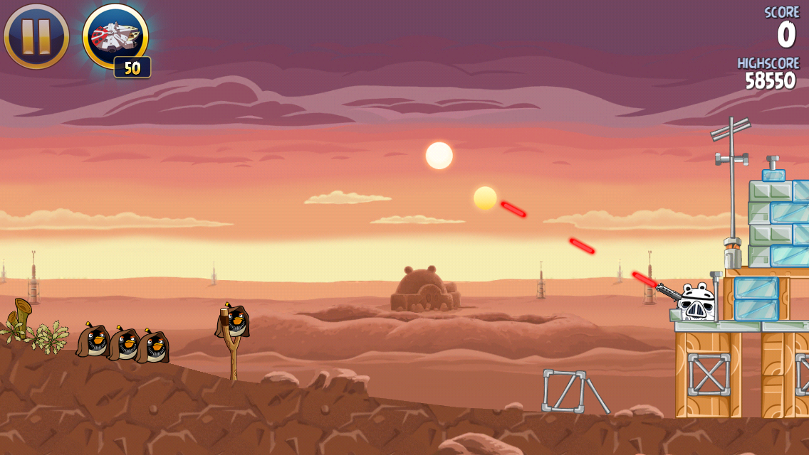 Angry Birds: Star Wars iPhone The lasers can knock your angry bird off course