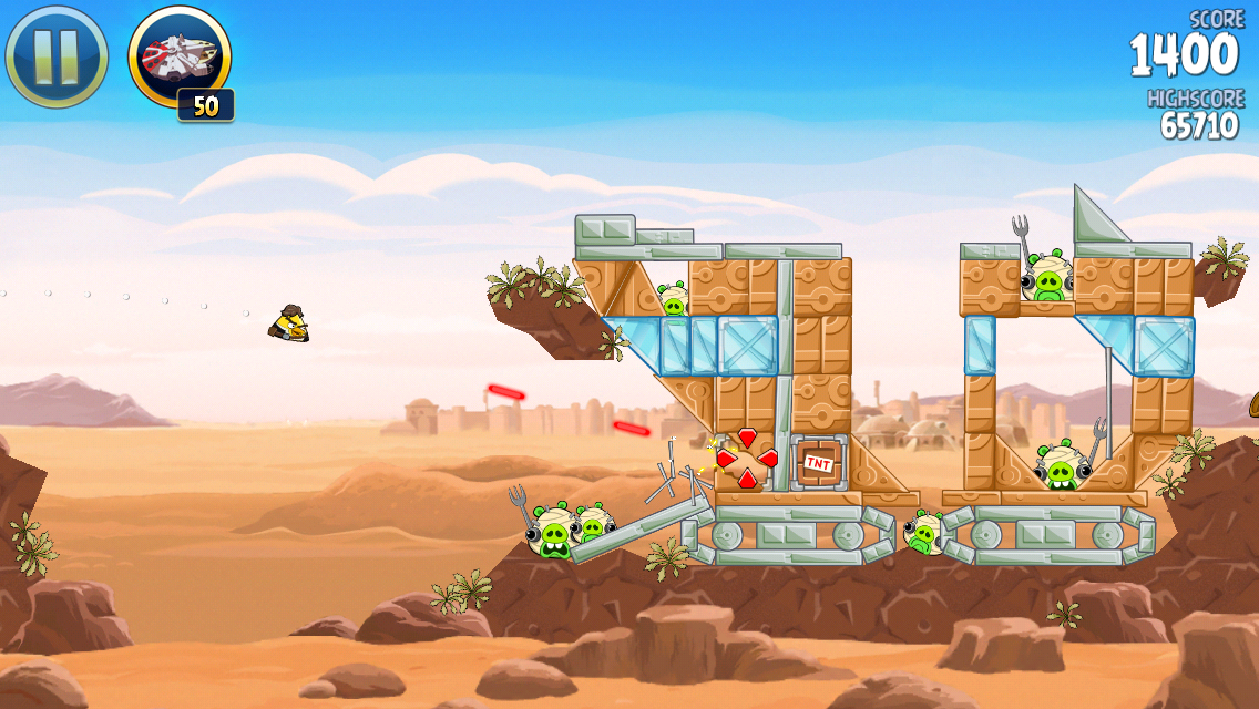 Angry Birds: Star Wars iPhone The yellow birds can shoot lasers too
