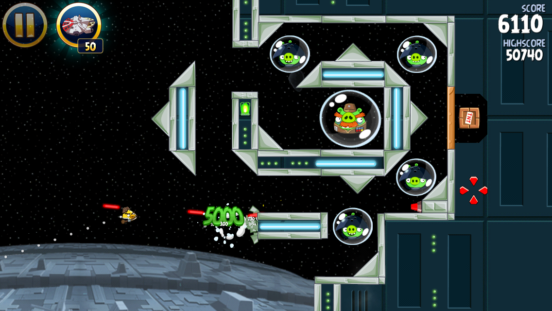 Angry Birds: Star Wars iPhone 5000 points for some destruction!