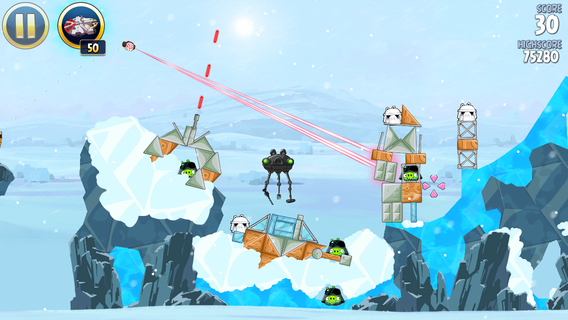 Angry Birds: Star Wars iPhone The pink bird can pull objects