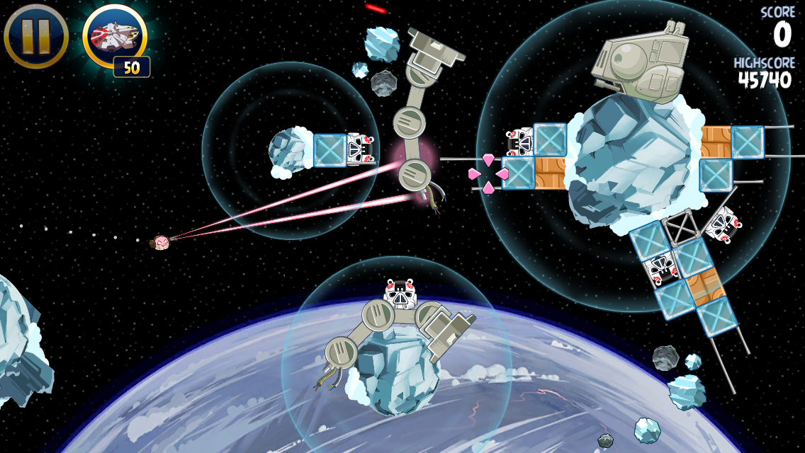 Angry Birds: Star Wars iPhone Pink bird in space