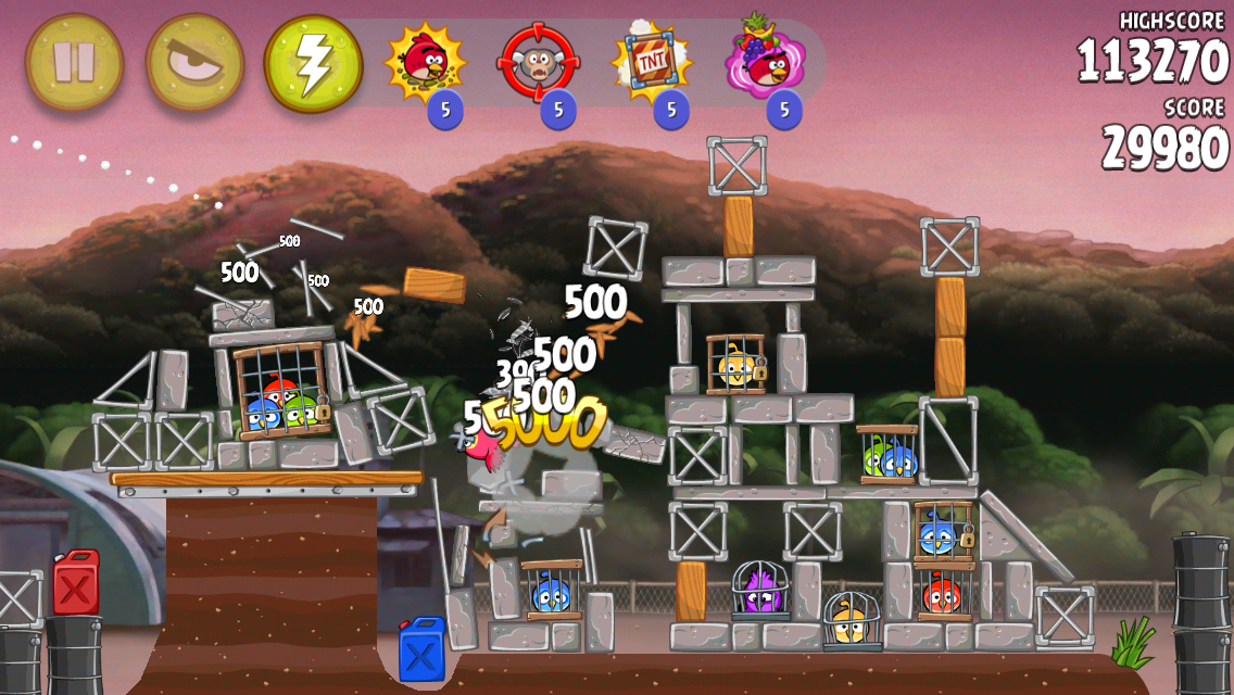 Angry Birds: Rio iPhone Lots of destruction and points!