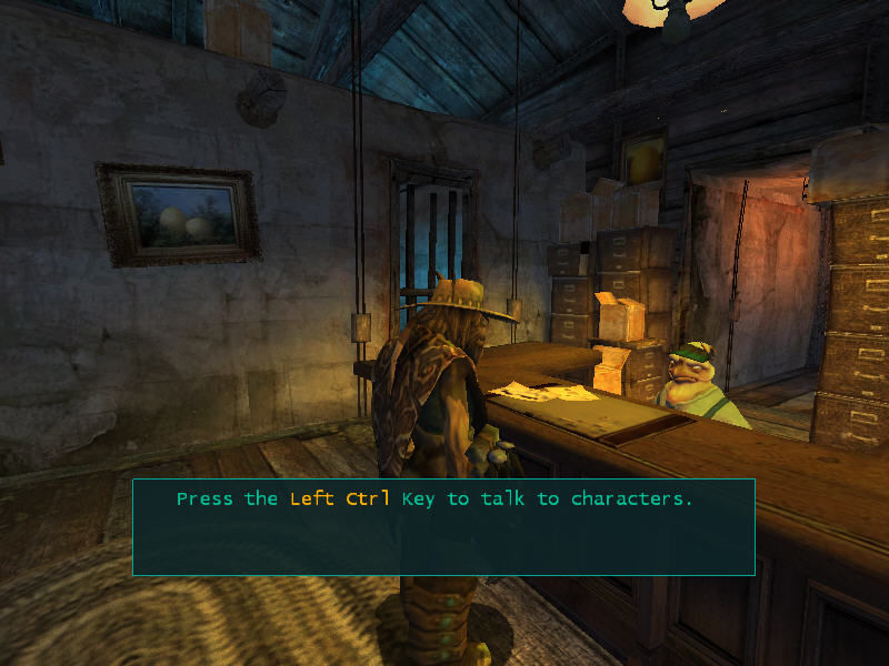 Oddworld: Stranger's Wrath Windows talking with humanoid bird. 