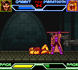X-Men: Mutant Academy Game Boy Color Gambit vs Sabretooth