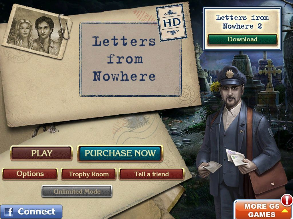 Letters from Nowhere iPad Main menu (demo)