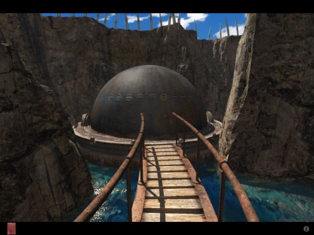 Riven: The Sequel to Myst iPad Spinning marble sphere on plateau island