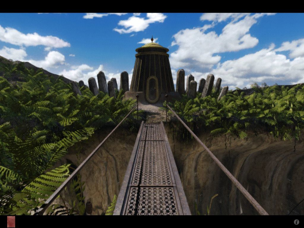 Riven: The Sequel to Myst iPad Throne tower flanked by stone monoliths