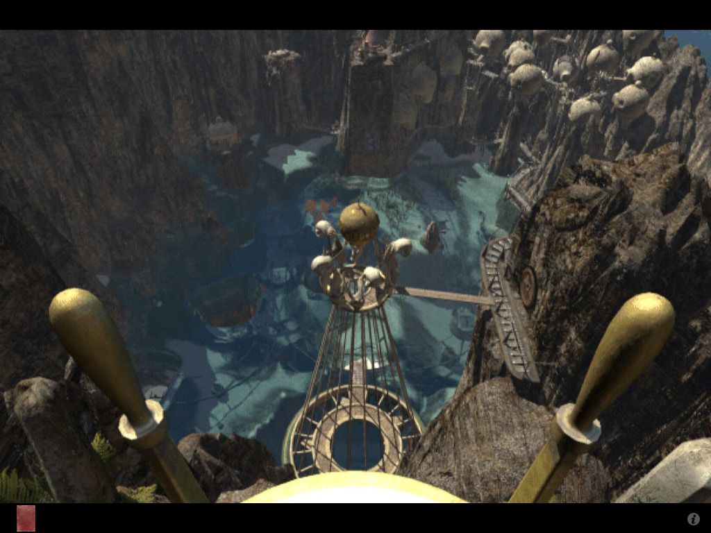 Riven: The Sequel to Myst iPad View from throne tower looking down on the lagoon