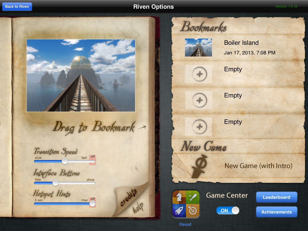 Riven: The Sequel to Myst iPad Main menu