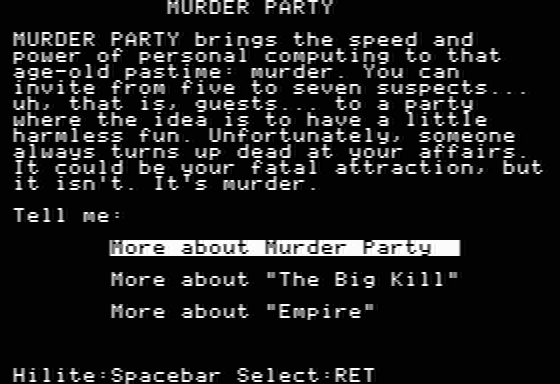 Make Your Own Murder Party Apple II The main menu