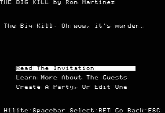 Make Your Own Murder Party Apple II Starting a new party
