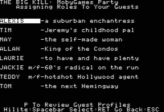 Make Your Own Murder Party Apple II Assigning roles to party guests