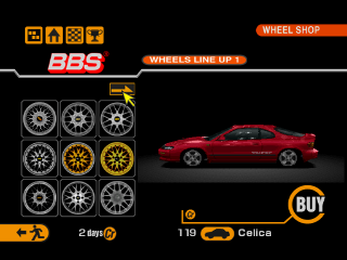 Gran Turismo 2 PlayStation Wheel shop: You can buy wheels of different designs for your car.