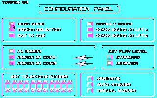 688 Attack Sub DOS Configuration Panel (CGA)