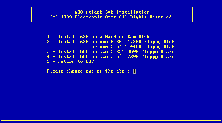 688 Attack Sub DOS Installation (Needs to run this from original package.)