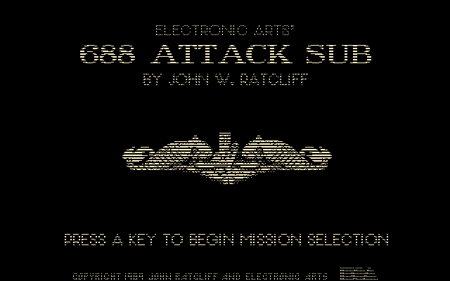 688 Attack Sub DOS Title screen (Hercules)