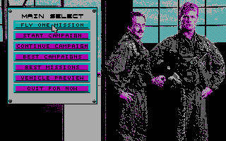 A-10 Tank Killer DOS Main menu (CGA)