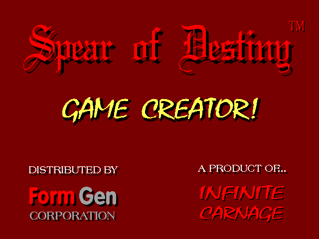 Spear of Destiny Super CD Pack DOS Game Creator's title screen