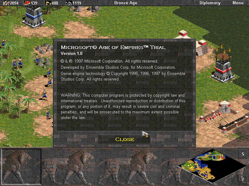 Age of Empires (Demo Version) Windows Version information screen.