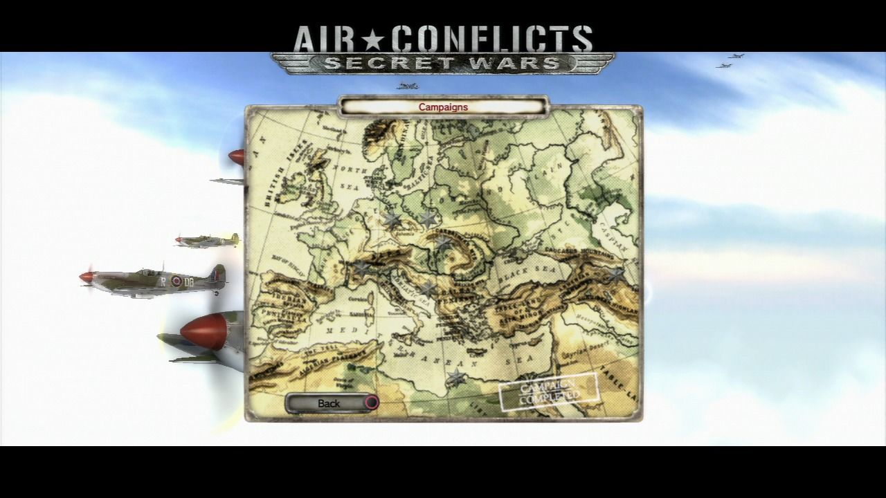 Air Conflicts: Secret Wars PlayStation 3 Campaign map.