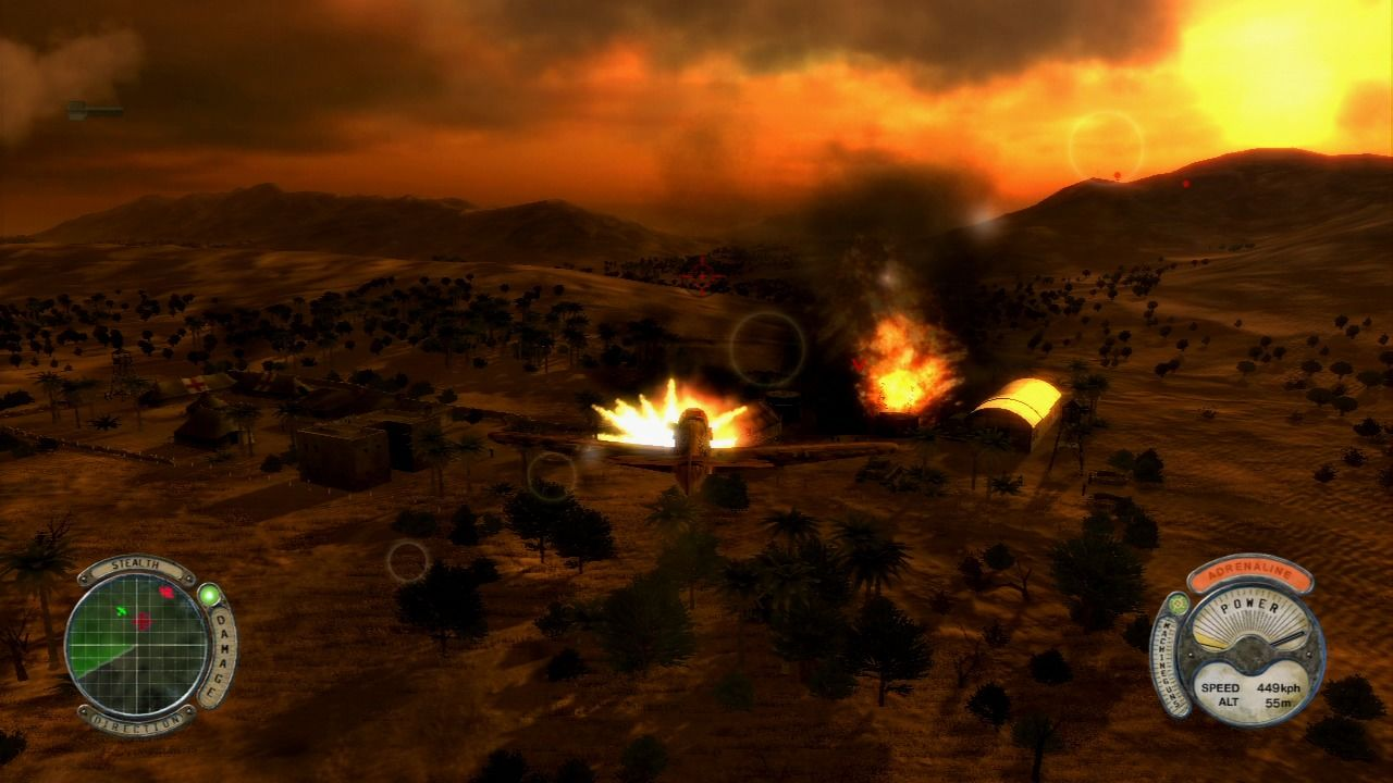 Air Conflicts: Secret Wars PlayStation 3 Using missiles to take out enemy fuel depot.