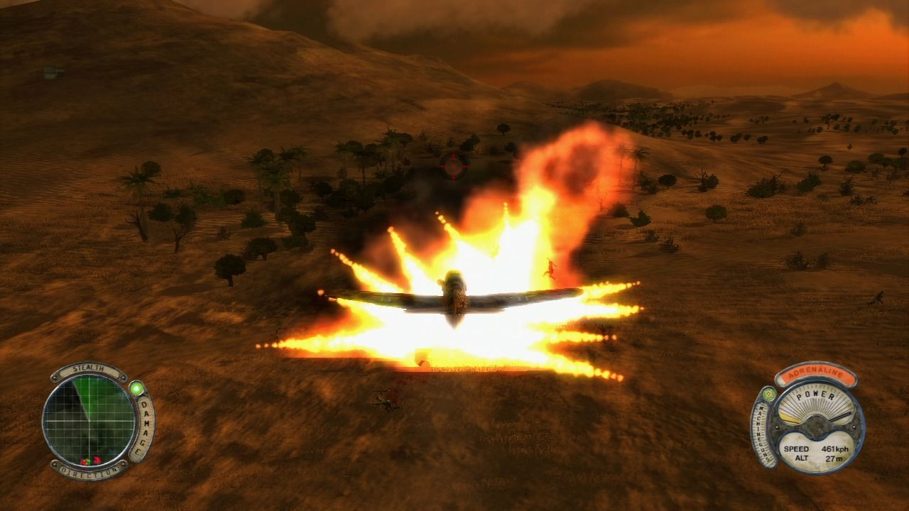 Air Conflicts: Secret Wars PlayStation 3 Firing missile at the enemy patrol, after explosion.