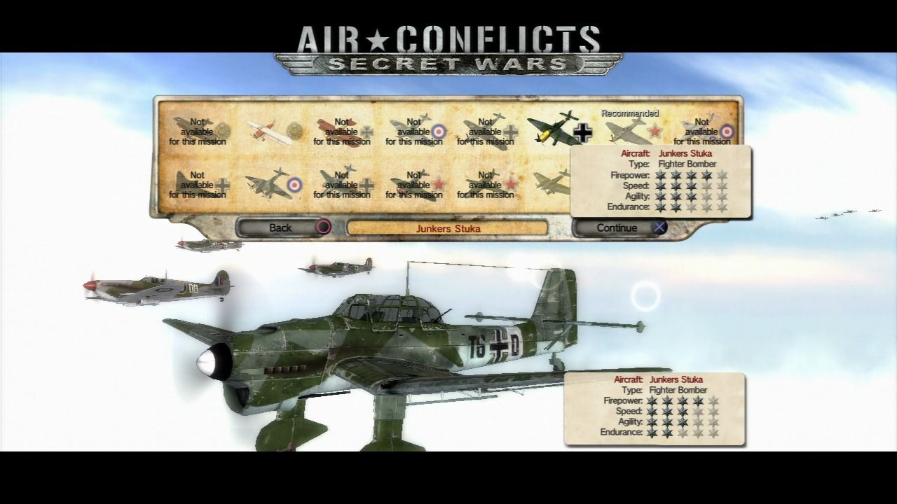 Air Conflicts: Secret Wars PlayStation 3 You should choose the most appropriate plane for the mission, assuming you have it unlocked.