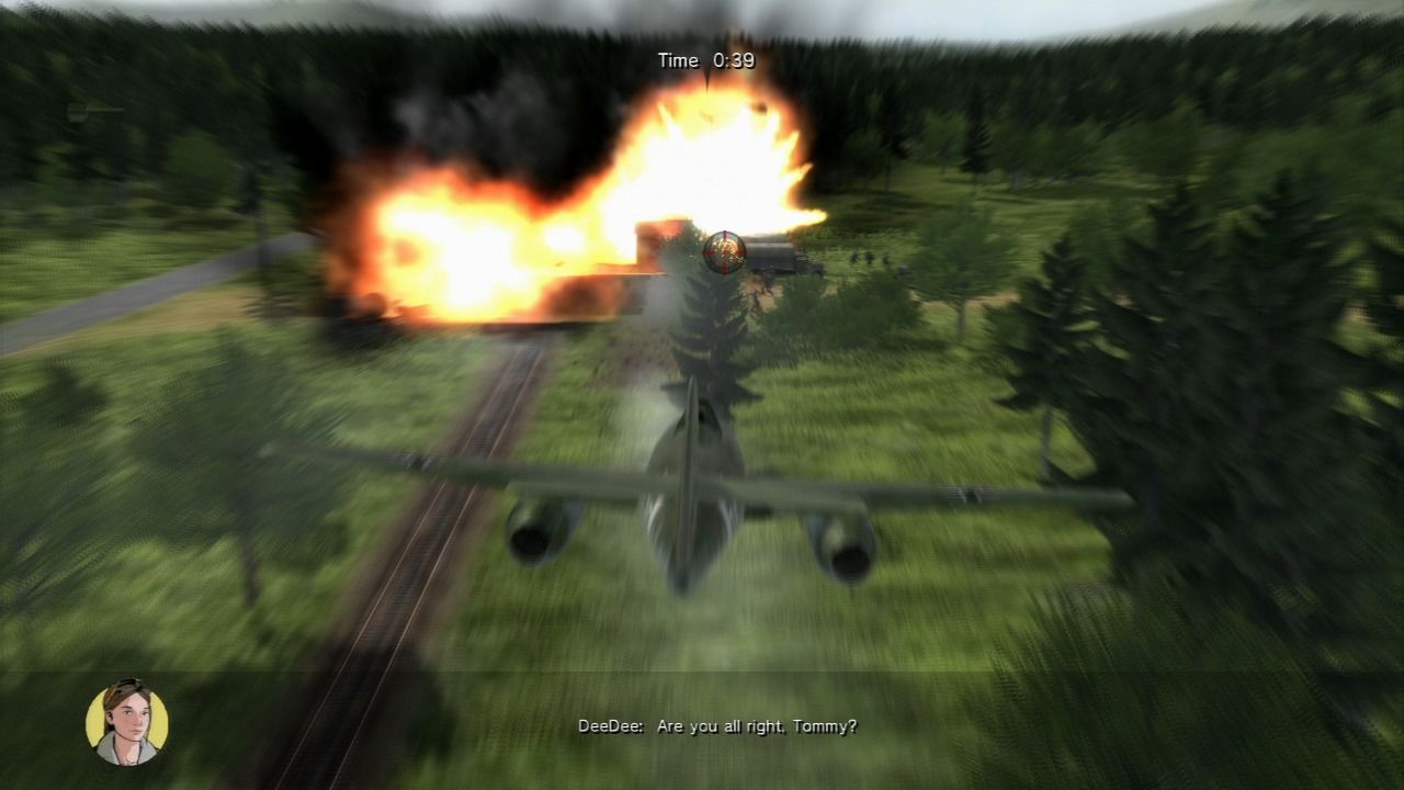 Air Conflicts: Secret Wars PlayStation 3 Enemy train station taken out by using special skill that slows down the time and provide you with a steadier aim.