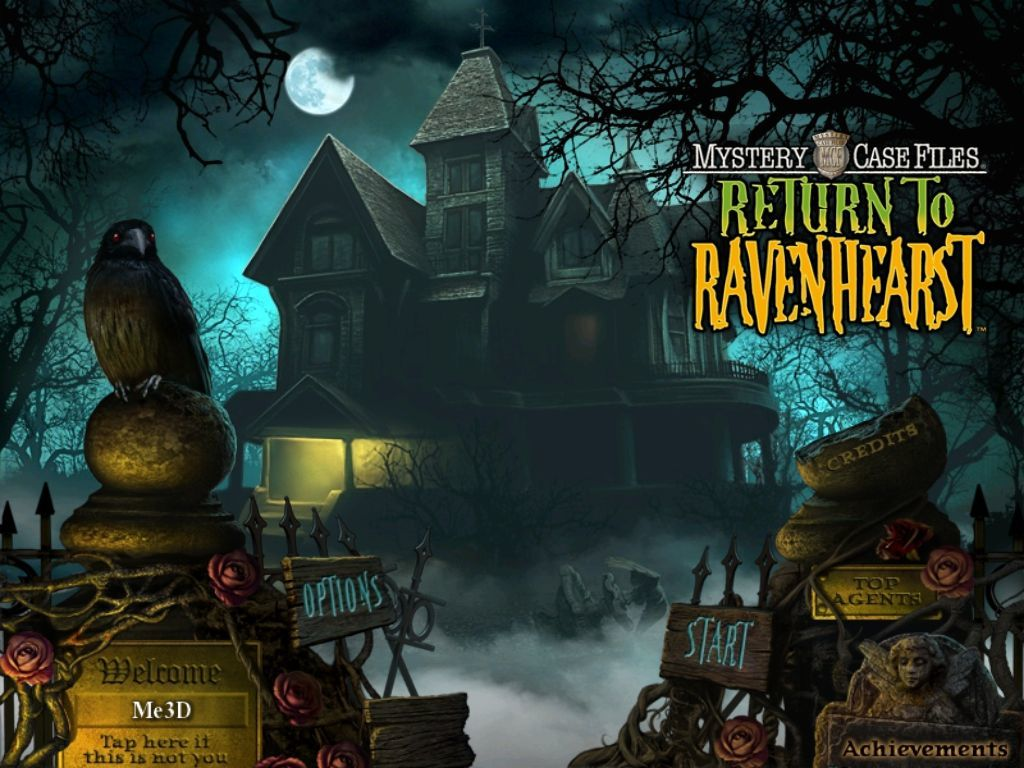 Mystery Case Files: Return to Ravenhearst iPad Main menu