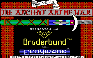 The Ancient Art of War DOS Title screen (EGA/Tandy)